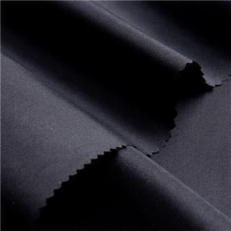 Ponge 10 schwarz, 150 cm Reststück mit Webfehler 55 cm von Kante, ganze Länge
