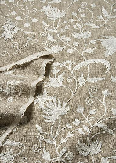 isfahan leinenstoff 100 leinen bestickt bestickte. Black Bedroom Furniture Sets. Home Design Ideas
